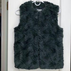 Teal green faux fur vest